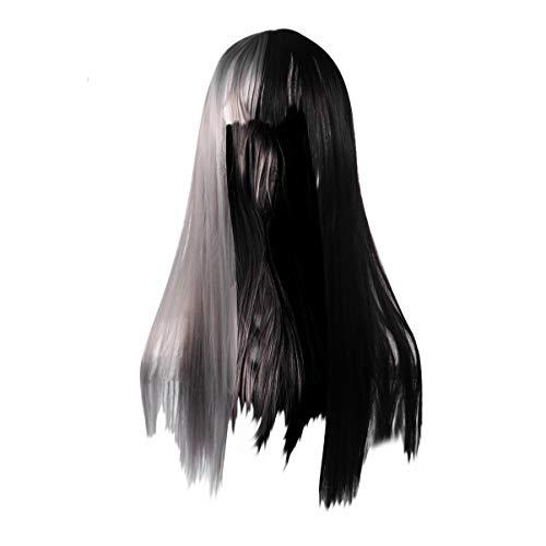 Beaupretty Parrucca Mezza Grigia E Nera Parrucche Sintetiche per Capelli Lunghi Dritti Moda per Donne Ragazze Trucco di Halloween Costume Cosplay Accessorio per Feste