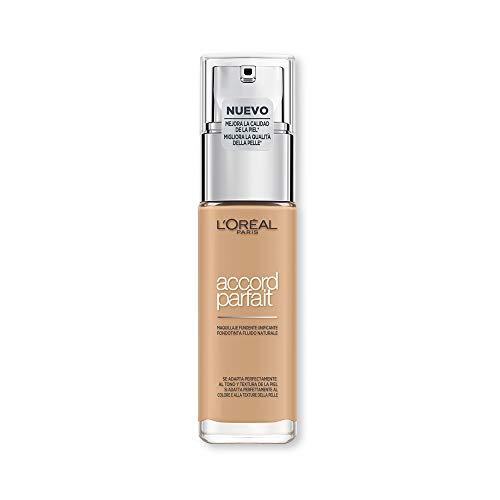 L'Oréal Paris MakeUp Fondotinta Accord Parfait, Effetto Naturale, Arricchito con Acido Ialuronico, 3.D/3.W Beige Doré/Golden Beige, 30 ml, Confezione da 1