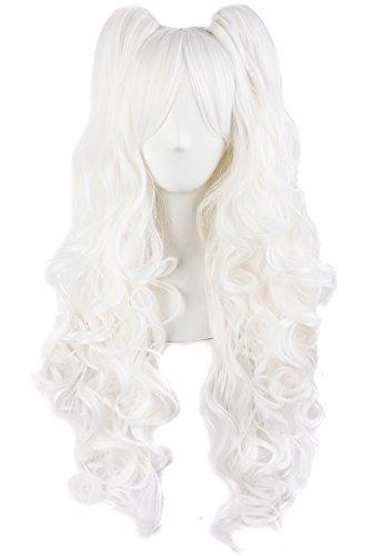 MapofBeauty 28'/70cm Lungo Ricci Donna Intrecciato Parrucche (Bianco)