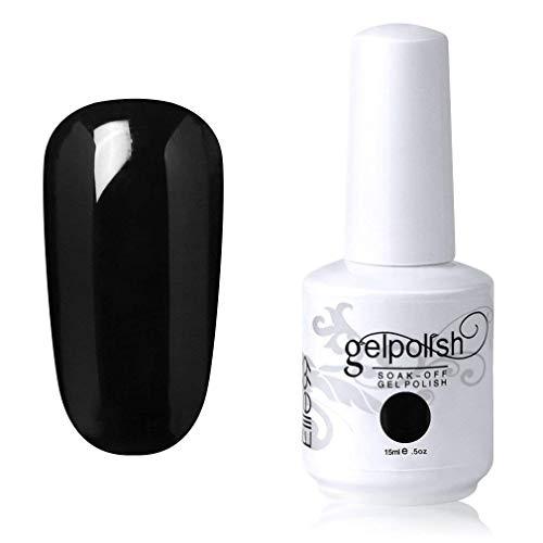 Elite99 Smalto Semipermente per Unghie in Gel UV LED Smalti per Unghie Soak Off per Manicure Nero 15ML - 1348