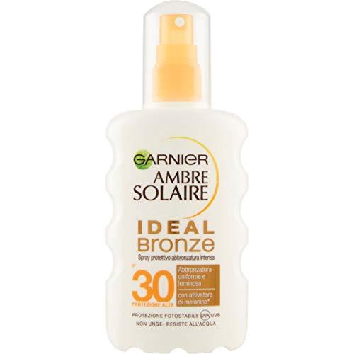 Garnier Ambre Solaire Crema Protezione Solare Ideal Bronze, Spray Protettivo per un'Abbronzatura Uniforme e Luminosa, IP30, 200 ml, Confezione da 1