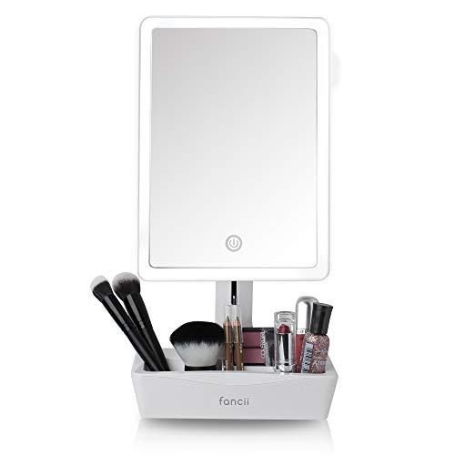 Fancii Specchio Trucco Illuminato Grande, Specchio Cosmetico Professionale con Luce LED e Ingrandimento 1x/ 10x - USB o Batteria, Angolo Regolabile