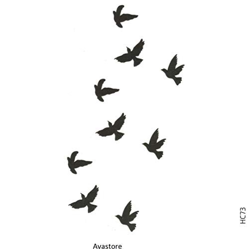 AVASTORE - Tatuaggio temporaneo da donna e uomo, motivo: colombe l'evolo di uccelli, libera, pace e amore