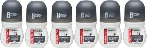 BOROTALCO ROBERTS, roll-on, Invisible - 6 flaconi di deodorante anti macchie, 48 ore, 50 ml