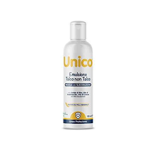 Unico Emulsione Talco non Talco a base di estratti naturali - REGOLA LA SUDORAZIONE E DIFENDE DALLE PUNTURE DI INSETTI - arricchita con Olio di Andiroba - 125ml