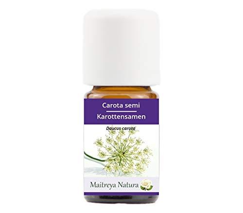 Maitreya Natura Olio Essenziale biologico CAROTA SEMI 100% puro e naturale, 5ml - aromaterapia, diffusore, massaggio, cosmetica - qualità controllata e certificata, vegan