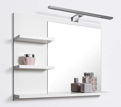 DOMTECH, Specchio da bagno con mensola, bianco, con illuminazione a LED, specchio da bagno,L