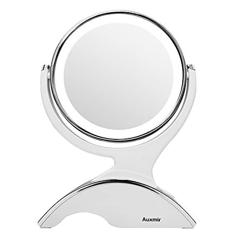 Auxmir Specchio da Trucco Illuminato LED Specchio Cosmetico Doppia Superficie con Ingrandimento 10X Rotazione a 360 Gradi Makeup Mirror Double Sided per Trucco Rasatura e Cura del Viso Diametro17 cm