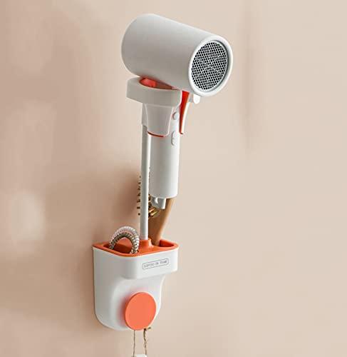Hm Vicyy Supporto per asciugacapelli,Porta phon da Muro,con Gancio,Nessuna necessità di forare Forte capacità portante Porta phon Facile da installare per Camera da Letto,Bagno e WC