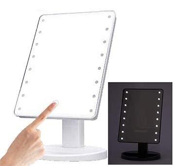 Klamore Specchio per Il Trucco con luminosita Regolabile con Touch Screen, 16 LED Pieghevole Professionale Make up Specchio da Tavolo. Alimentato da 4 Pile Stilo (AA) Non Incluse. (Bianco)
