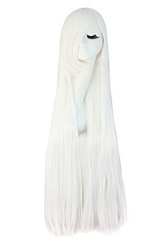 MapofBeauty 100cm/ 39 Pollice Medio Lisci Donna Lisci Parrucche (Bianco)