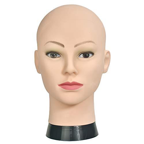 Testa di manichino donna, professionale, per esercitarsi con il trucco o creare parrucche