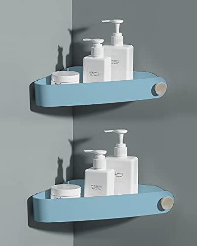 2 pezzi Mensola Angolare Doccia Mensole Bagno - Non Necessita di Trapano, Rimovibile - Può Contenere Sapone, Shampoo e Detergente Per il Viso - Mensole Bagno Autoadesiva con 4 adesivi, Blu