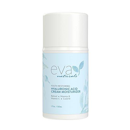 Crema idratante all'acido ialuronico di Eva Naturals - Migliore crema idratante per il viso - Retinolo, Vitamina B, C ed E, CoQ10 e tè verde - Stimola il collagene