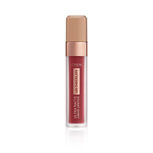 L'Oréal Paris, Rossetto Matte Liquido Tinta Labbra a Lunga Tenuta, Collezione Les Chocolats, Confezione Singola, 864 Tasty Ruby