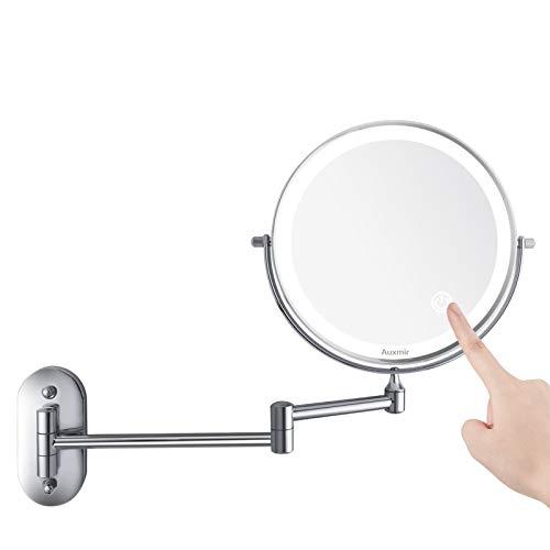 Auxmir Specchio Trucco con Ingrandimento 10X/1X Specchio Bagno con Luci a 3 Colori Luminosità Regolabile Specchio Estensibile Rotazione a 360° Alimentato da Batterie AAA (Incluse) per Bagno Hotel Spa