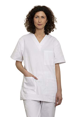 Divisa Sanitaria Infermiere Completa di Casacca e Pantalone | Camice Bianco Medicale Unisex Uomo Donna | OSS Ospedale Estetista Veterinario Dentista | 100% Cotone Sanforizzato Oeko-Tex (Bianco, S)