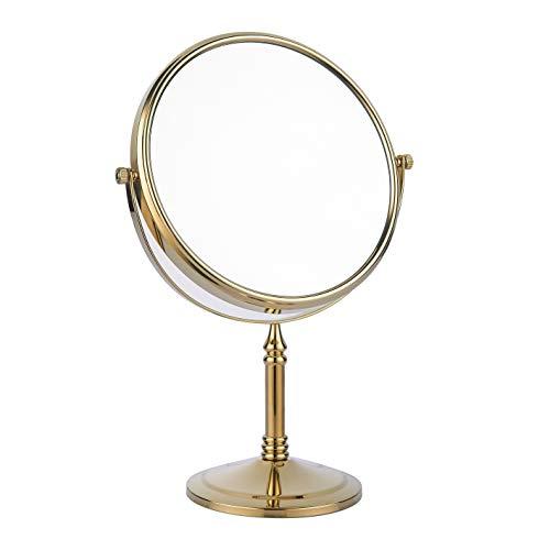 bgl specchio di bellezza è utilizzato su entrambi i lati, specchio da tavolo 1X / 3X, 20,3 cm 360 rotazione lente d'ingrandimento, specchio da bagno in ottone (oro)