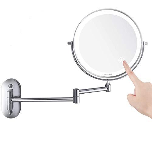Auxmir Specchio Trucco con Ingrandimento 5X/1X Specchio Bagno con Luci a 3 Colori Luminosità Regolabile Specchio Estensibile Rotazione a 360° Alimentato da Batterie AAA (Incluse) per Bagno Hotel Spa