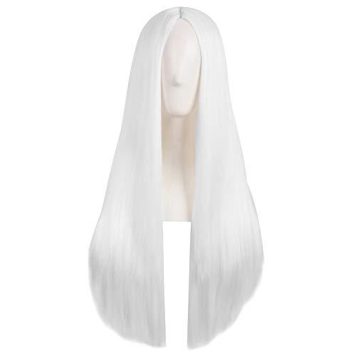 MapofBeauty 28 Pollic/70cm Donne Speciale Naturale Lungo Dritto Side Bangs Sintetico Parrucca (Bianco)