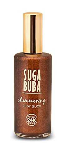 Suga Buba sbagliore scintillante del corpo, trucco corpo e gambe, idratante glitter corpo oro, lozione shimmer e bronzer di lusso, bagliore istantaneo e golden shimmer per corpo e gambe, 100ml.