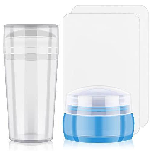 EBANKU 2PCS Jelly Nail Art Stamper e raschietto Nail silicone trasparente arte Stamping con Cap manicure di cura del chiodo