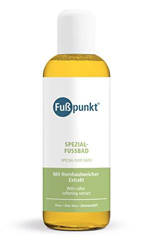 Fußpunkt, pediluvio speciale con ammorbidente per calli, con estratto di urea al 15% e aloe vera (etichetta in lingua tedesca).