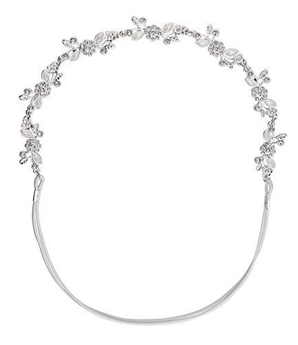SIX 456-887 - Fascia per capelli con fascia elastica, fiori e strass e perle decorative, accessorio alla moda