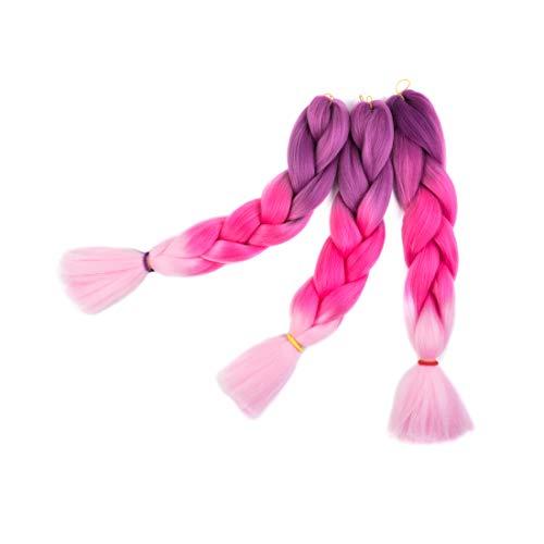 Syabeca - Extension per capelli, sintetiche, a trecce, effetto ombrè, 3 pezzi, 300 g, 61 cm