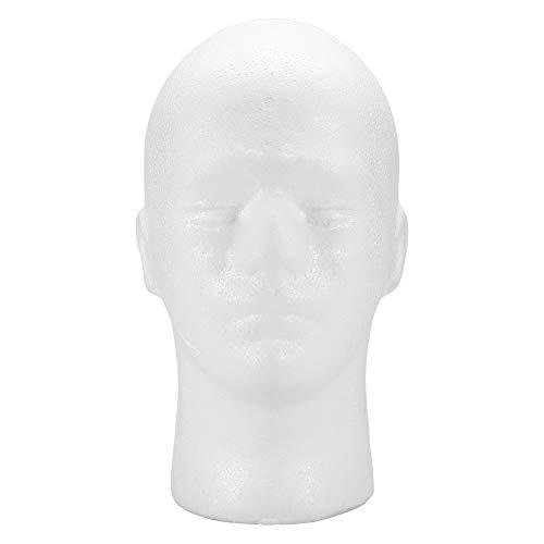 Foam Mannequin Head - Styrofoam Wig Head Maschile Foam Mannequin Manichino testa cappello parrucca Display Stand (bianco)