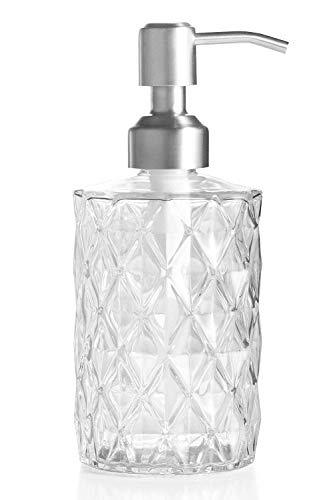 Ekirlin Dispenser di sapone in vetro per cucina, bagno, ricaricabile, bottiglia di vetro trasparente, 340 ml, con pompa in acciaio inox, per lavastoviglie, olio essenziale, shampoo (trasparente)