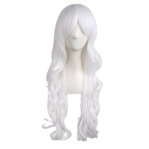 MapofBeauty 28 Pollic/70cm Parrucca Cosplay Lunga Capelli Ricci Della Signora Di Modo (Bianco)