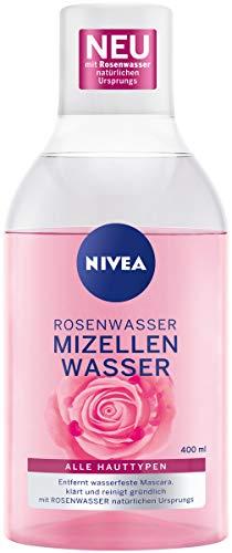 Nivea Acqua di rose Acqua micellare (400 ml), pulizia del viso con tecnologia MicellAIR e acqua di rosa naturale, acqua micellare delicata