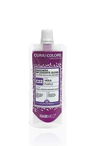 HAIRMED - Cura e Colore - Maschera Riflessante Capelli - Bagno di Colore Senza Ammoniaca - Gloss C22 - Viola - 40 ml