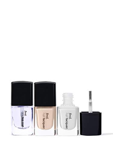 Marchio Amazon - find. French Manicure - Smalto per unghie, confezione da 3 (n.1, n.2, Top Coat)