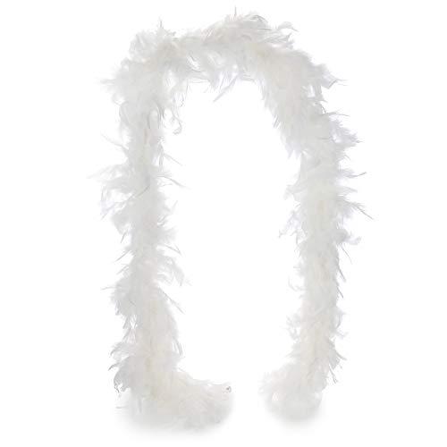 com-four® Costumi retrò Anni '20 Costume da Donna e Estensioni, Charleston Look, Abito di Paillettes con Frange Flapper Vintage, Boa di Piume, Collana di Perle, Parrucche (1 Pezzo 180 cm 65 g Bianco)