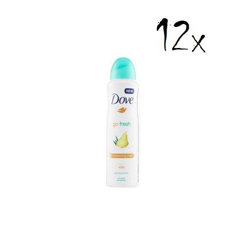 Dove - 12 flaconi di deodorante spray e aloe anti traspirante, 150 ml, 48 ore