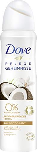 Dove - Spray deodorante rituale rigenerante al cocco e ai fiori di gelsomino, 0%, confezione da 6 (6 x 150 ml)