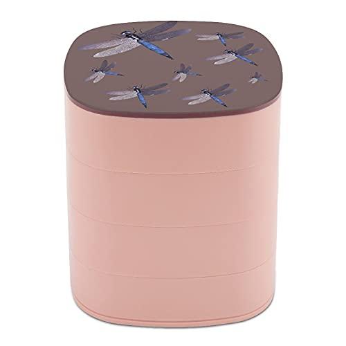 Ruotare la scatola di gioielli Design libellula insetto tatuaggio blu gioielli titolare scatola piccola con specchio, multi-strato design gioielli piatto per donne ragazza
