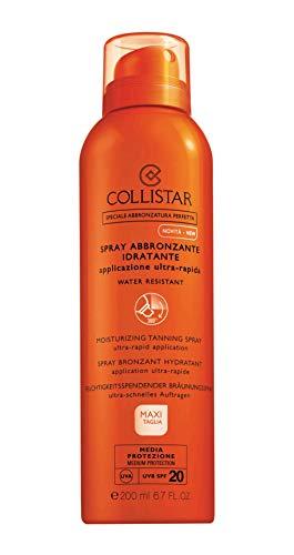 Collistar Spray Abbronzante Idratante Protezione 20, Spray Corpo e Capelli a rapido assorbimento, Azione idratante, Resistente all'acqua e al sudore, Ottimo per chi pratica sport, 200 ml