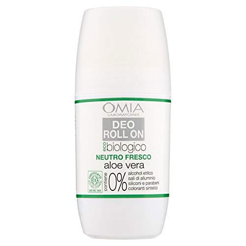 Omia Deo Roll On Eco Biologico con Aloe Vera, Antitraspirante, Deodorante per Sudorazione Intensa, senza Sali di Alluminio, Freschezza per 24 ore, Deodorante Uomo e Donna - 50 ml