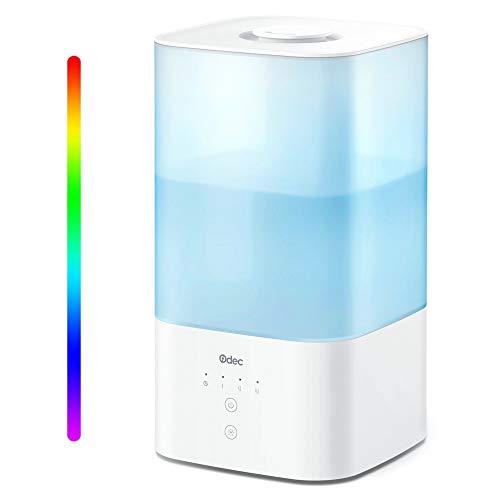 ODEC Umidificatore Top Fill 2,5L Umidificatori Ambiente con a LED Luci Notturne 7 Colori, Diffusore di Oli Essenziali per Camera da Letto, Controllo Touch, Nebbia Regolabile Modalità di Sonno