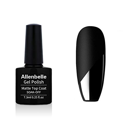 Allenbelle Matte Top Coat Smalto Semipermanente Nail Polish UV LED Gel Unghie (Kit di 6 pcs 7.3ML/pc) (001)