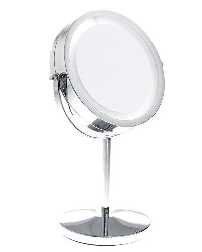 TUKA LED Specchio per Trucco Senza Fili, 5X ingrandimento, Doppio Specchio Illuminato al rasatura/Make-up, Cosmetico Specchio con Luci, 2 facciate: Normale e ingrandimento, TKD3145-5x