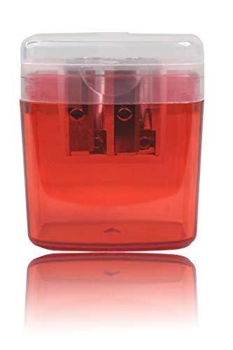 LogicaShop ® B-Sharpy Temperino con Serbatoio Piccolo per Destrimani, Temperamatite per Bambini Doppio Foro, Temperamatita per Matita Occhi Colorato, Temperino 2 Fori con Contenitore (Rosso)