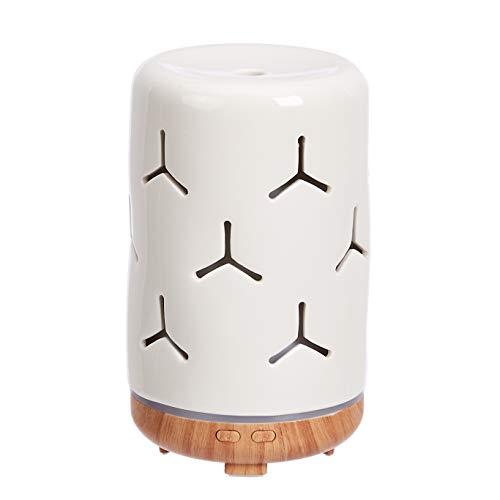 Amazon Basics - Diffusore di oli essenziali per aromaterapia, a ultrasuoni, 120 ml, base con finitura color legno con venature, motivo fiocco di neve