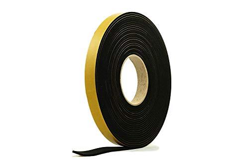 Striscia spugna autoadesiva di gomma nera in neoprene 20 mm di larghezza x 5 mm di spessore x 10 m di lunghezza
