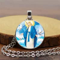 Huang Glass art all'Ingrosso Portafortuna Argento smaltato Virgin Maria Ciondolo & Collana Catena Donna Gioielli cristianity