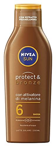 NIVEA SUN Crema Solare Protect & Bronze FP6 in Flacone da 200 ml, Crema Abbronzante e Idratante, Latte Solare per un'Abbronzatura Dorata, Intensa e Uniforme