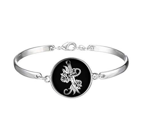 Elf House Old School tatuaggio spada e fiori dipinti su un nero sfondo illustrazione braccialetto, elegante braccialetto di vetro